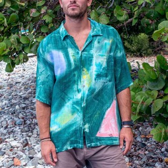 Men's Tropical Cotton Shirt in Bamboo