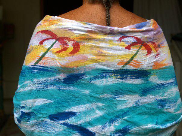 Barbara models Sloop's Red Sails Sarong Wrap