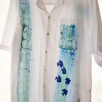 Blue Fish Guayabera Shirt