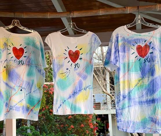 Beaming Heart Tee — V-Neck, Cap-Sleeve, Hi-Lo