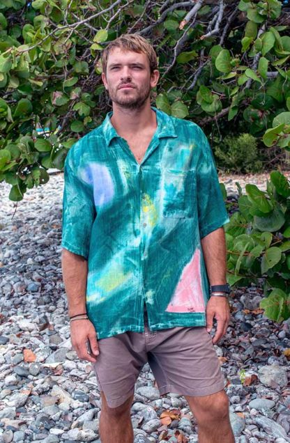 Men's Tropical Cotton Shirt in Bamboo