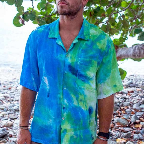Men's Tropical Cotton Shirt in LimeWash
