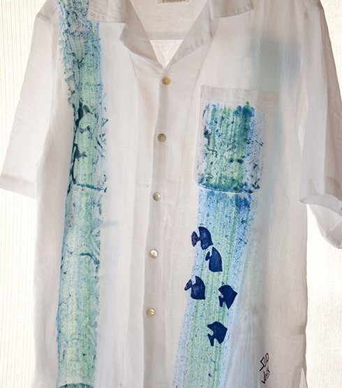 Blue Fish Guayabera Shirt