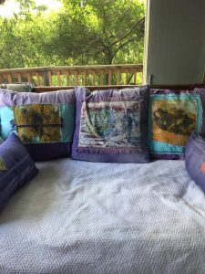 Kathy's beautiful pillows with Sloop Squares