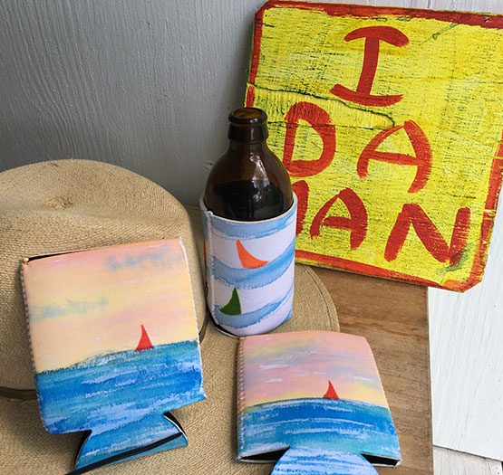 Sloop Jones Koozie in Red Sails Design